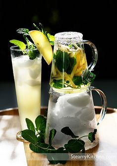 Apple Ginger Mint Iced Tea. 2-3 bags of green tea, 2 inch piece of ginger, cut into matchsticks, 1/4 apple, cut into matchsticks, 1-2 sprigs mint, 2 cups boiling hot water, 1/2 cup apple cider, 2 cups ice in pitcher, Honey, as desired. Combine tea bags, ginger, apple and mint in a tea pot. Fill with boiling hot water and steep for 5 minutes. Pour and strain into ice-filled pitcher. Add apple cider and honey as desired. Fill individual glasses with ice and serve.