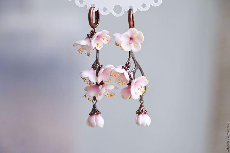 """Купить """"Сакура"""" серьги - сакура, 8 марта, цветы, цветы из полимерной глины, весна"""