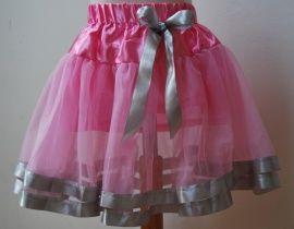 Tutu met 2 linten roze/zilver maat 104 | Kledingmaat 104 | Voor de kleine prinses