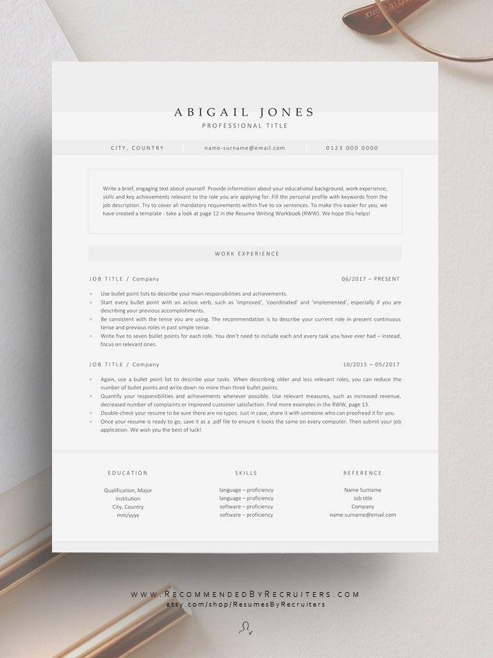 Modern Resume Design To Download Cv Template For Creative Etsy Modern Resume Design Minimalist Resume Template Resume Design
