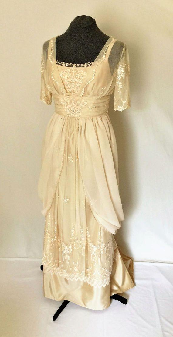 Vestido de Novia de estilo eduardiano boda vestido Champagne