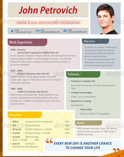 178 best Resumes \ Self Promotions images on Pinterest Gym - resumes with color
