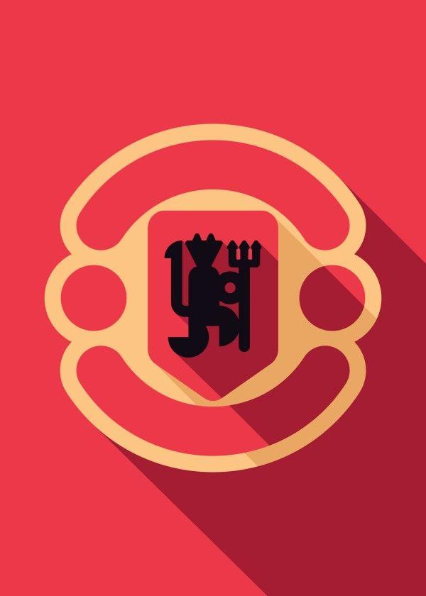 Minimalist Manchester United by Daniel Nyari  #soccer #soccerart #futbol…
