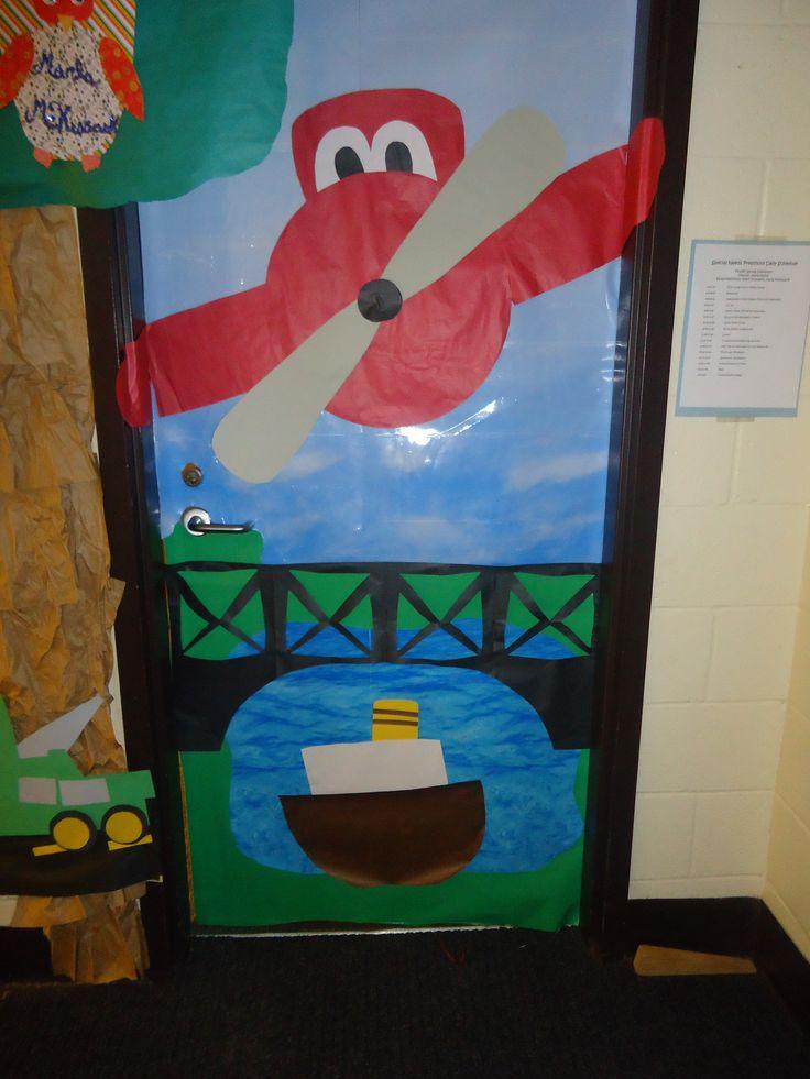 Classroom Decor On A Budget ~ Transportation door decoration preschool classroom fun