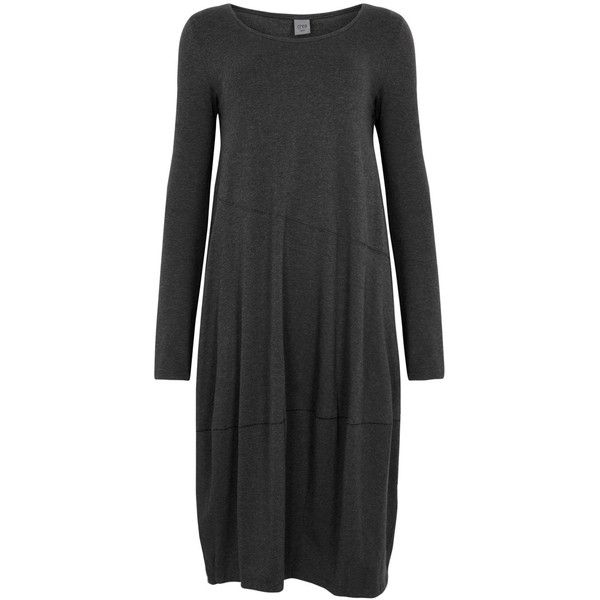 Crea Concept Charcoal Jersey Dress - Size 8 ($170) ❤ liked on Polyvore featuring dresses, charcoal gray dress, charcoal grey dress, jersey dress, crea concept and slip on dress