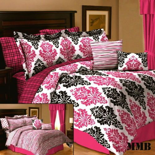 10pc queen full twin girl dorm pink black and white damask - Black white pink comforter ...