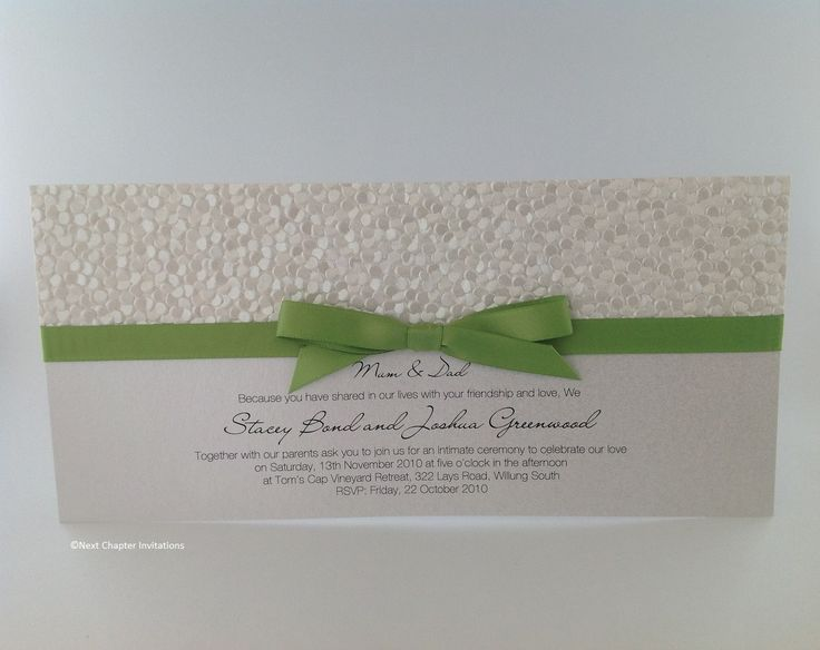 WHITE PEBBLES  Gorgeous white pearl pebble paper complemented with a lime satin ribbon. The ribbon can be changed to suit your colour scheme. Comes complete with addressed envelope PRICE $3.95 https://www.facebook.com/NextChapterWeddingInvitations