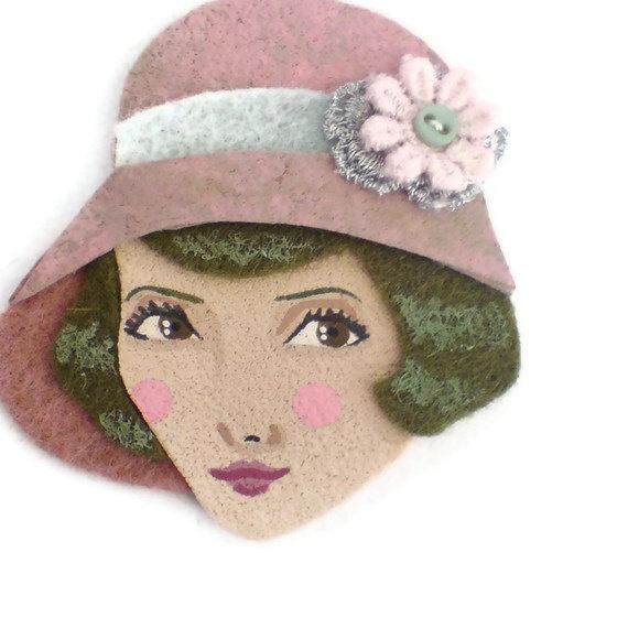 SALE  20s Flapper Girl Fabric Brooch Felt Brooch Art by yalipaz, $15.00