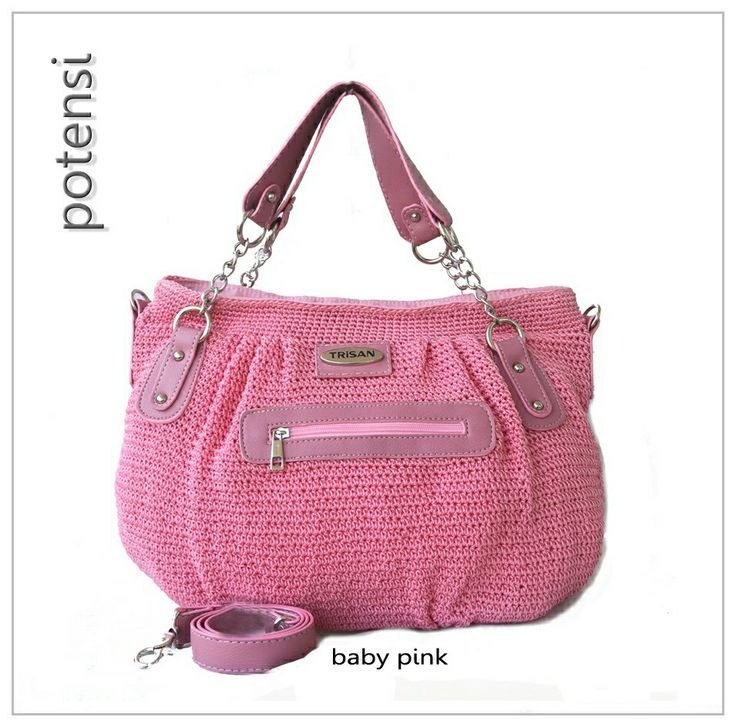 POTENSI crochet bag by TRisAN color : baby pink materials : nylon crochet mix syntetic leather size (cm) : 40 x 28 x 10 price (IDR) : 315.000