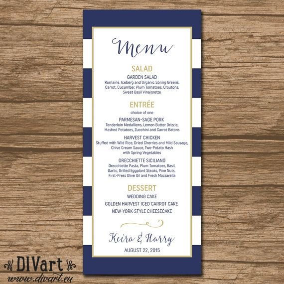 Nautical Wedding Menu, Rehearsal Dinner Menu, Reception Menu - PRINTABLE - nautical wedding - navy and gold - Keira