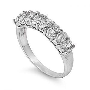 18K White Gold Plated Half Eternity Lab Diamond Wedding Band
