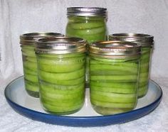 Canned green tomatoes for frying - great idea since I like fried green tomatoes!