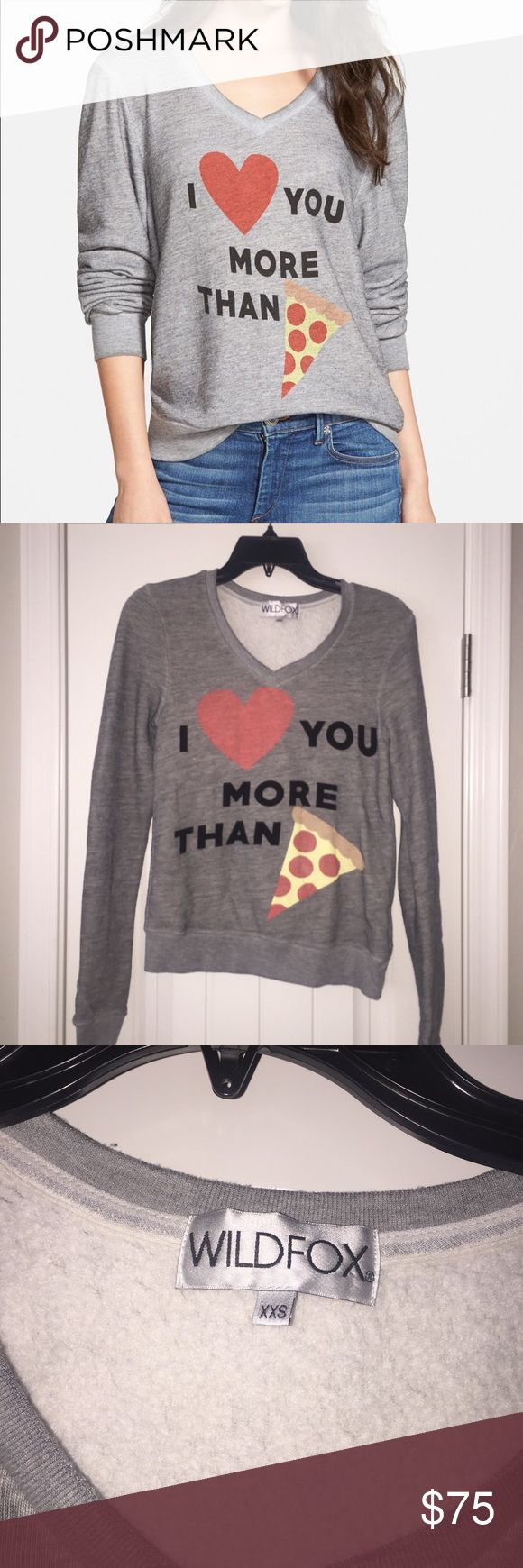 Wildfox More Than Pizza Pullover Sweatshirt XXS Brand new without tags, 100% authentic, Poly/Cotton/Rayon 🚫NO TRADES🚫 Wildfox Sweaters V-Necks