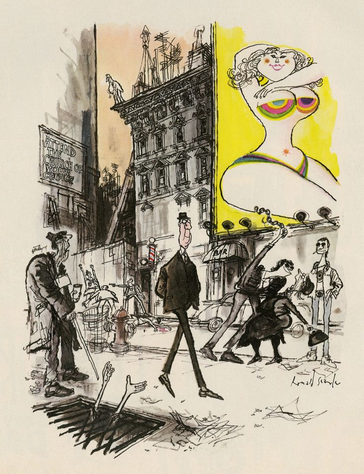 """Such a great read! """"6 Drawing Lessons That 'Inside Out' Story Artist Matt Jones Learned from Ronald Searle"""" on CartoonBrew.com   'Manhattan on the Rocks'  for """"Venture."""""""