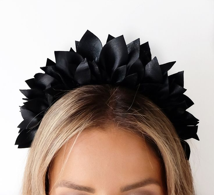 BLACK LEATHER  MINT AND MELON CROWN - Leather Half-  Light headpiece perfect for Spring Races 2017
