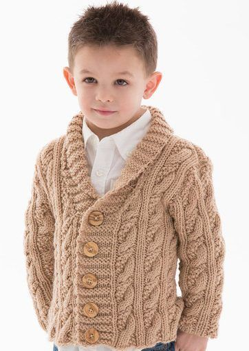 Free knitting pattern for Little Man Cardigan - Alice Tang designed this stylish shawl-collared cable cardigan for Red Heart. Options for buttonholes on either side. Sizes 2 yrs, 4 yrs, 6 yrs, 8 yrs.