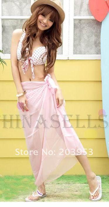 Розовый сексуальные женщины купальники бикини шарфы Пляжное полотенце купальник завернутый пряжи обертывание юбка шаль пляжное полотенце плавать мантию