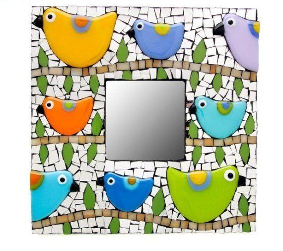 Mosaic Bird Mirror por raquelsbirds en Etsy