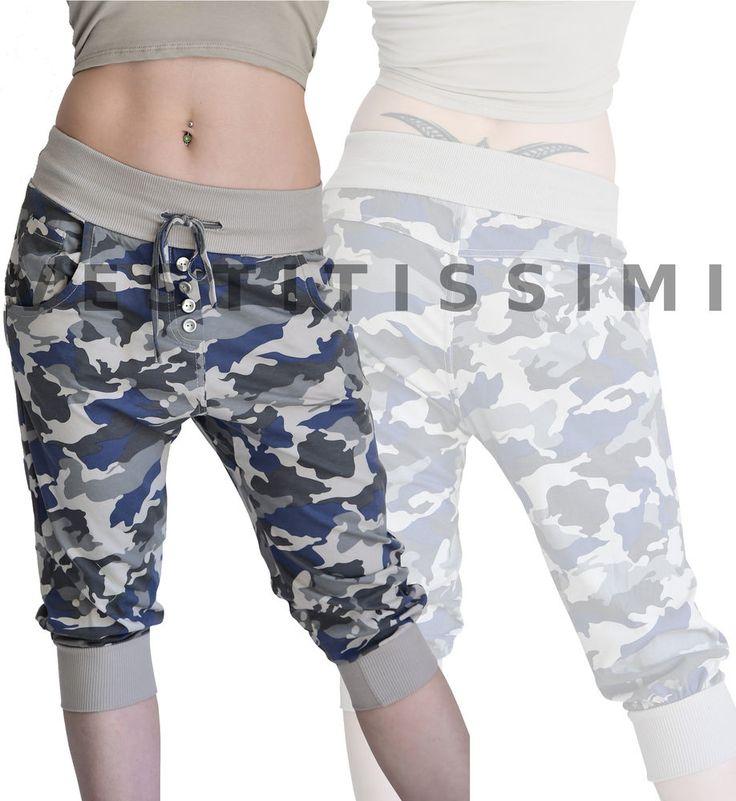 pantaloni fitness a pinocchietto a fantasia militare