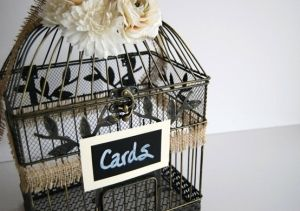 Large Rustic Wedding Bird Cage Card Holder - Burlap Ribbon Chalkboard Sign Ivory White Flowers, $60.00 by mandy