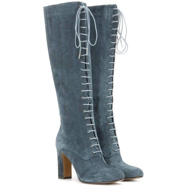 Etro Suede Lace-Up Knee Boots (1,680 CAD) ❤ liked on Polyvore featuring shoes, boots, etro, heels, turquoise, knee high lace up heel boots, teal suede boots, laced boots, laced up boots and knee boots