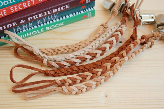 Buy 1 get 1 FREE! Braided leather Pacifier Clips - In gender neutral earth tones, simple baby binky/pacifier holder for girls & boys