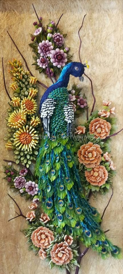 how to make peacock feather with quilling paper