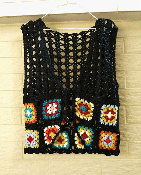Abuela Plaza Crochet chaleco corbata frente