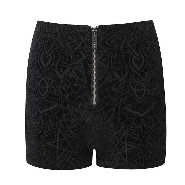 Burn Baby Burn fluwelen hotpants korte broek zwart - Rock Metal Gothic Pentagram Occult