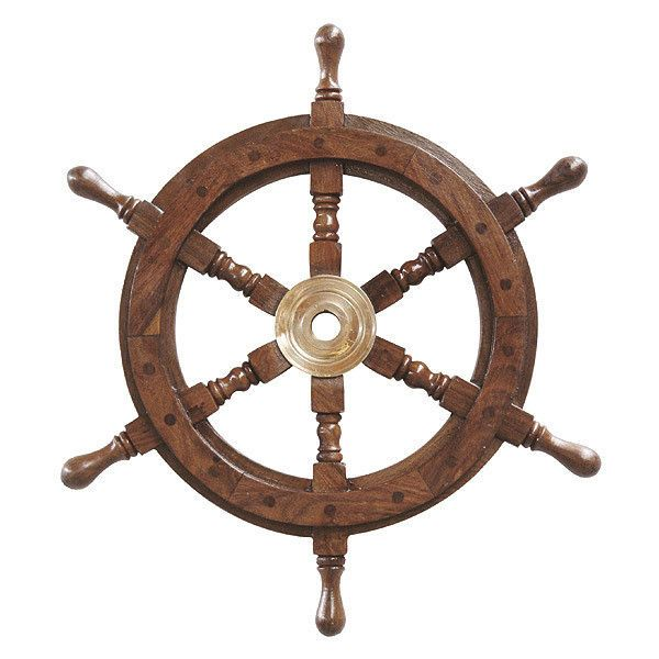 Schiffssteuerrad Ruder Steuerrad Schiff Holz Messing Maritim 32cm