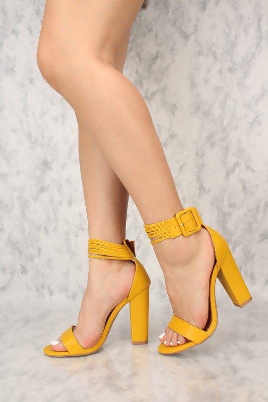 1c66bbdb14 Sexy Mustard Chunky Heels Open Toe Single Sole Chunky High Heels ...