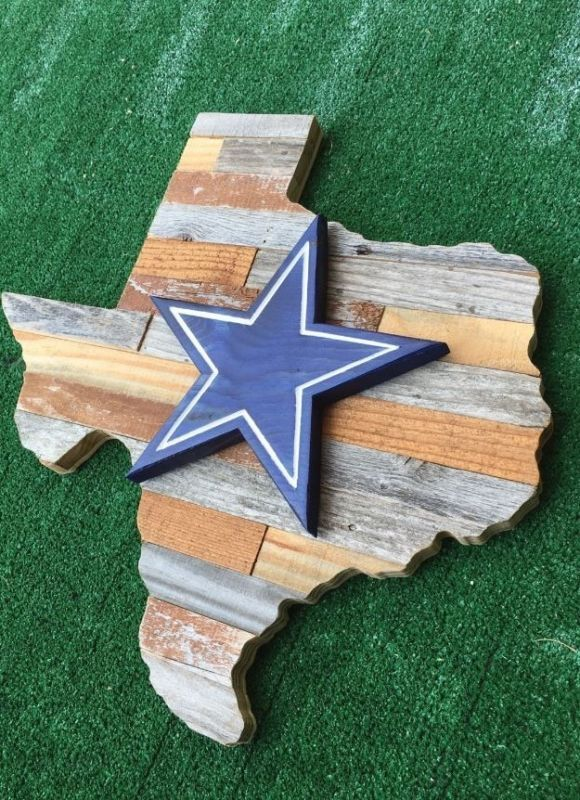 Dallas Cowboys Sports Wall Decor Sign Wooden Man Cave Reclaimed Wood NFL Team