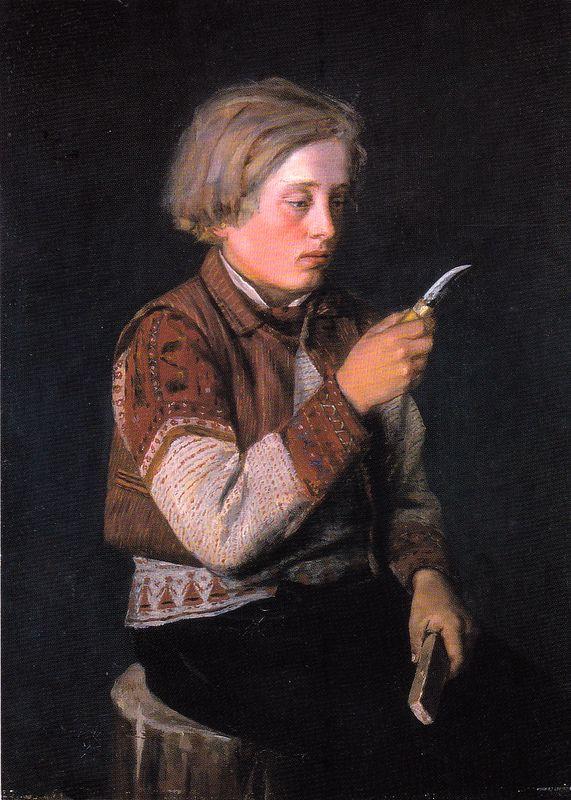 Kuva albumissa ARVID LILJELUND - Google Kuvat.  Veistään hiova Korsnäsin poika 1880.  Yksityiskokoelma.