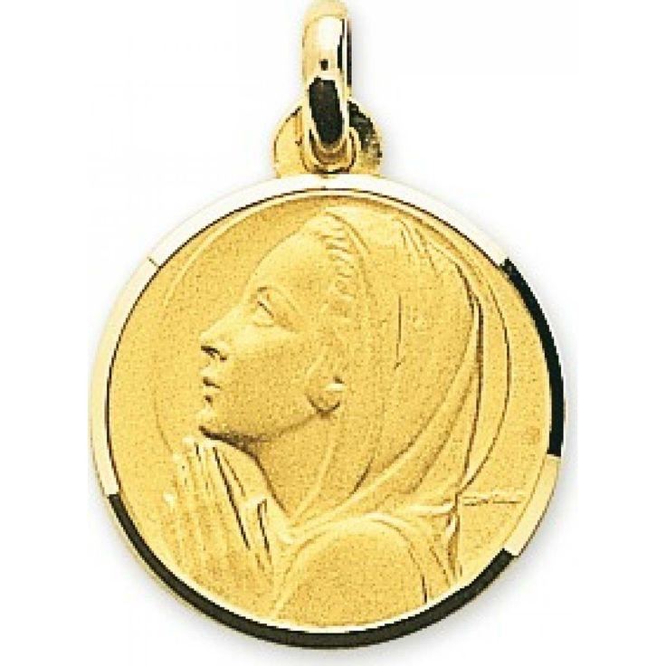 Ladies gold Vierge Marie Prière circular pendants - Bijoux Paris