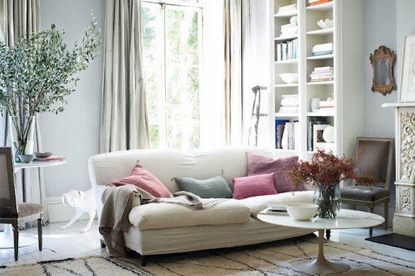 relaxed space, white couch,