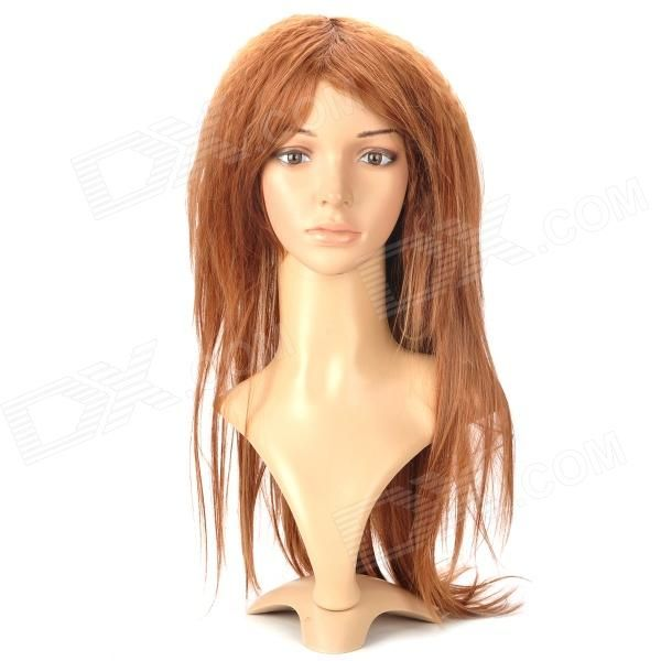Color: Golden brown; Material: High-temperature resistance fiber; Quantity: 1; Functions: Changes your appearance and hair style instantly and make your more attractive and charming; Hair Grade: Remy Hair; Virgin Hair: No; Lace wig type: Full Lace Wig; Style: Silky straight; Length: 75 cm; Compatible Circumference: 54~60 cm; Features: It can washed by cold or warm water, dried by towel and wind (Please avoid hanging up); Packing List: 1 x Hair wig; http://j.mp/1v364ss