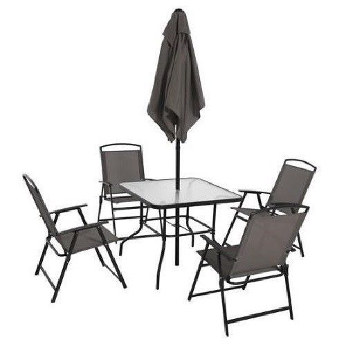 Patio Set With Umbrella Outdoor Dining Furniture Glass Table Folding Chairs  Grey