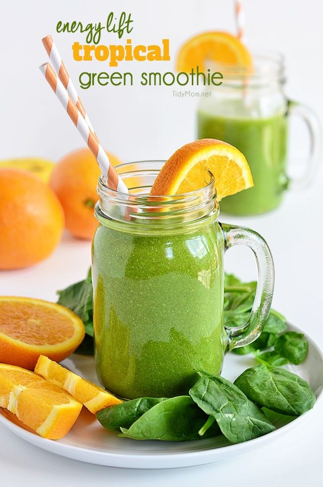 This Energy Lift Tropical Green Smoothie is full of fresh fruits and dark leafy greens that provide energy and a fast healthy meal that actually tastes good. Recipe at TidyMom.net #backtocollege: