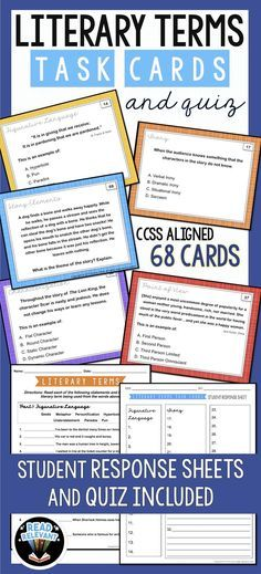 These task cards are perfect for reviewing and reinforcing literary terms. Review figurative language, types of irony, story elements, characterization, and point of view with these 68 cards. Student response sheets are included as well as a corresponding quiz. Cards contain multiple exercises including multiple choice with definitions, multiple choice with recognition, and short written responses.