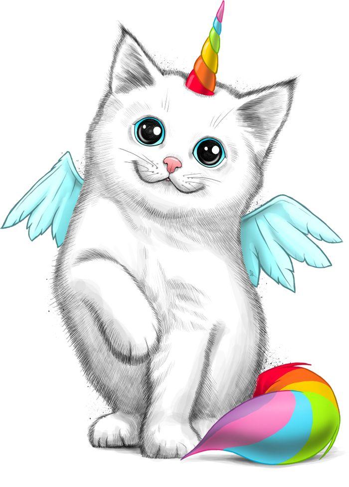 картинка радужного котенка единорожка