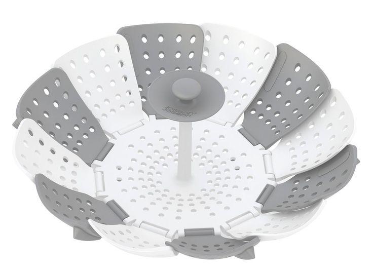 Joseph Joseph 40024 Lotus Plus Folding Non-Scratch Steamer Basket, White