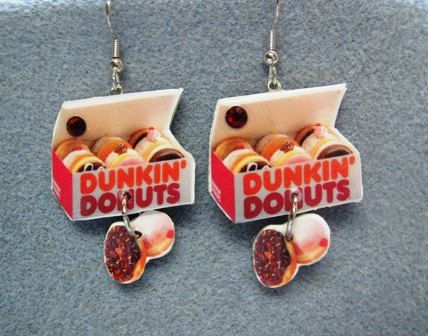 Dunkin' Donuts Kitsch Dangle Polymer Clay Junk Food Earrings Hypo Allergenic Nickle-Free. $18.00, via Etsy.