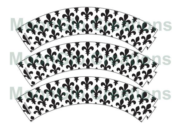 Fleur de lis cupcake wrappers . Printable by MoonGloCreations