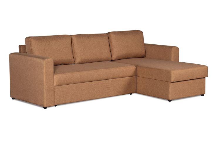 """Диван-кровать Дублин, ткань коричневая. Универсальный диван на все случаи жизни! Компактный и функциональный, имеет нейтральный цвет обивки, поэтому легко впишется в любой современный интерьер. Угловой диван-кровать """"Дублин"""" рассчитан на ежедневное использование в качестве спального места. Найдется место для постельного белья в угловой подъемной секции. Если вы захотите переставить его в другую комнату — не проблема! Направление угла легко поменять в домашних условиях."""