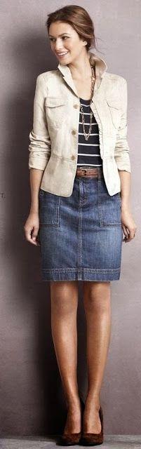 Fashion Is Life: Khaki Jacket with Denim Skirt Outfit