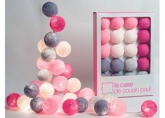 Mooie lichtslinger van 20 gekleurde balletjes in roze tinten