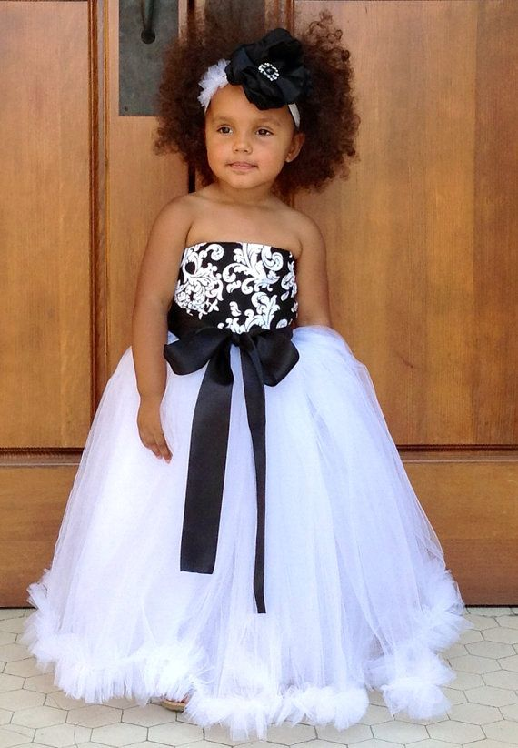 Black and White Damask Flower Girl Ruffle Tutu Dress. by NaomiBlu, $75.00