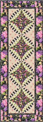 """www.gatewayquiltsnstuff.com Patterns: Veranda Table runner - Table Runner size: 20-1/4"""" x 53-3/8""""<br> Block: 9"""". Made with RJR's Katherine Ann collection by Patrick Lose. $10.00"""