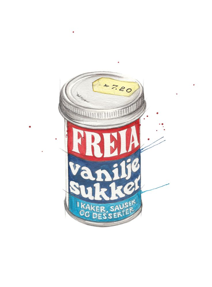 """Vaniljesukker"" (Norwegian powdered vanilla sugar)  Copyright: Emmeselle.no  Illustration by Mona Stenseth Larsen"