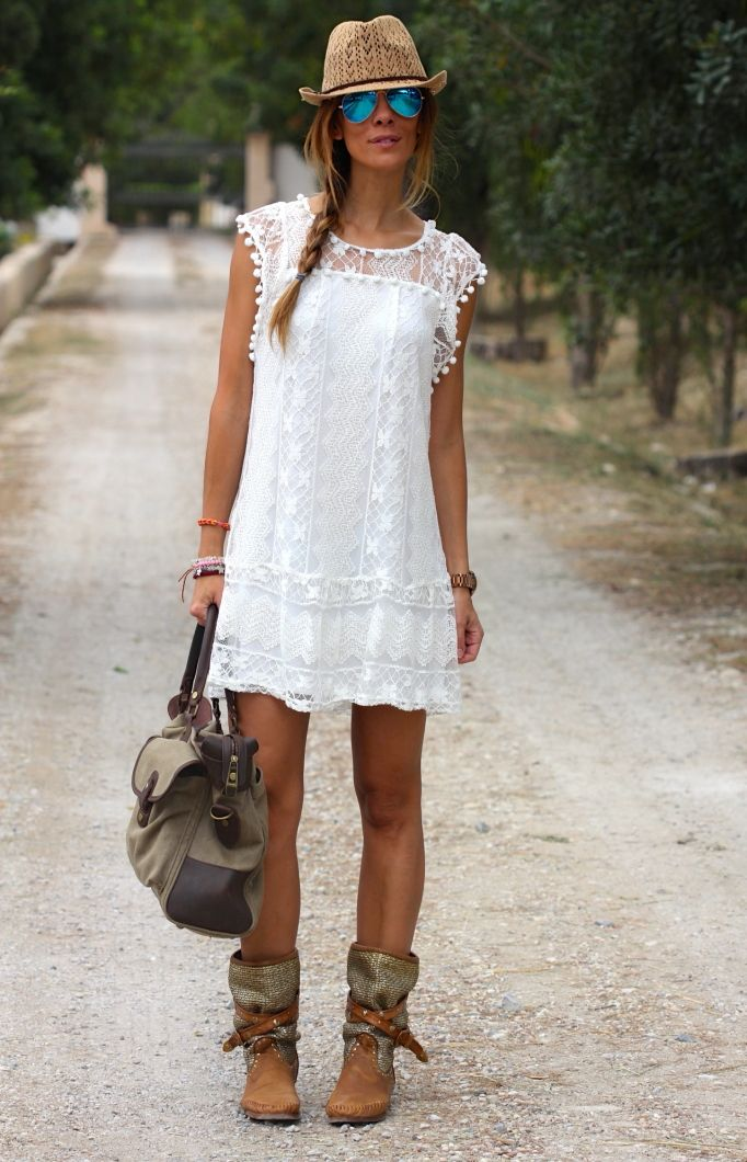 Fedora, cobalt mirror aviators, little white lace dress, satchel, and slouchy moto boots